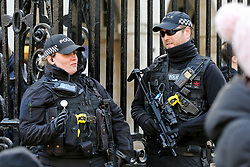 © Licensed to London News Pictures. 30/11/2019. London, UK. Armed police officers patrol The Household Cavalry Museum amid heightened security following the London Bridge terror attack on Friday 29 November 2019. Photo credit: Dinendra Haria/LNP