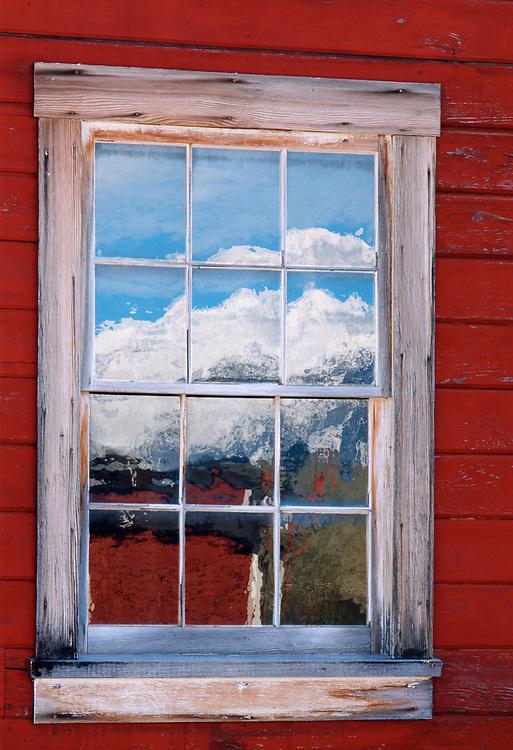 Window reflection, Kenticott Mine historic building, Wrangell-Saint Elias National Park, Alaska, USA