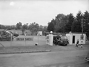 25/06/1955<br /> 06/25/1955<br /> 25 June 1955<br /> Irish Shell depot at Kells, Co. Meath. Bedford S Type tractor unit fitted with a Scammell automatic coupling and a Thompson of Bilston manufactured tank trailer leaving the depot.
