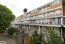 © Licensed to London News Pictures. 18/06/2018. London, UK.  A general view of Lucey Way in Bermondsey. A murder investigation has been launched following the death of a man in Bermondsey. Police were called by the London Ambulance Service to a residential address on Cucey Way on Monday 11th June where a 23 year old man was found suffering stab injuries.  The man was taken to a south London hospital but was pronounced dead today, 18th June.  Photo credit: Vickie Flores/LNP