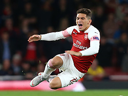 September 20, 2018 - London, England, United Kingdom - Arsenal's Lucas Torreira gets tackled by Vladyslav Kulach of FC Vorskla Poltava .during UAFA Europa League Group E between Arsenal and FC Vorskla Poltava at Emirates stadium , London, England on 20 Sept 2018. (Credit Image: © Action Foto Sport/NurPhoto/ZUMA Press)