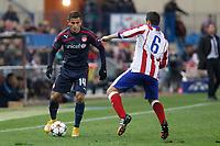 Atletico de Madrid´s Koke (R) and Olympiacos´s Elabdellaoui during Champions League soccer match between Atletico de Madrid and Olympiacos at Vicente Calderon stadium in Madrid, Spain. November 26, 2014. (ALTERPHOTOS/Victor Blanco)