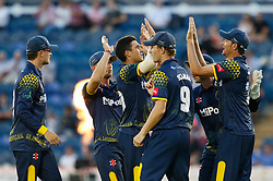 Glamorgan's Michael Hogan celebrates with team mates the wicket of Gloucestershire's Michael Klinger<br /> <br /> Photographer Simon King/Replay Images<br /> <br /> Vitality Blast T20 - Round 8 - Glamorgan v Gloucestershire - Friday 3rd August 2018 - Sophia Gardens - Cardiff<br /> <br /> World Copyright © Replay Images . All rights reserved. info@replayimages.co.uk - http://replayimages.co.uk