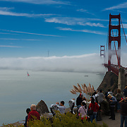 Golden Gate Bridge in a fog from Horseshoe bay vista point, San Francisco