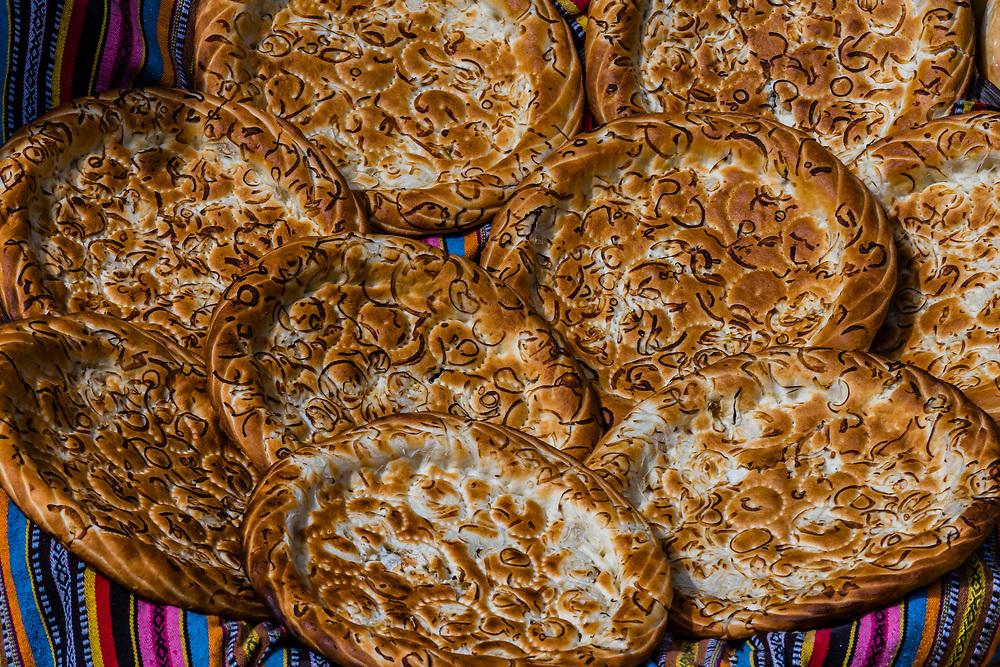 Nang (flatbread) at a bread shop in Yarkand, Xinjiang Province, China.
