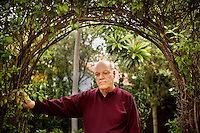 Robert Gable, a retired psychologist, in the garden of his home in Berkeley, Ca., on Friday, Oct. 29, 2010. Mr. Gable and his twin brother, Kirk, not pictured, invented the electronic monitoring device as graduate students at Harvard University. The invention was intended for positive re-enforcement that monitored and, and later rewarded, the offender for attending classes, sessions or a job. As technology improved, the belt was then used more as a tool for punishment.