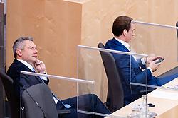 23.09.2020, Hofburg, Wien, AUT, Parlament, Sitzung des Nationalrates mit Aktueller Stunde der Gruenen, Europastunde, COVID-19 Massnahmengesetz, Sonderbetreuungszeit, Bildungsbonus, Kreditstundungen, Klimaschutz und weitere Corona-Hilfen, im Bild v. l. Karl Nehammer (OeVP), Sebastian Kurz (OeVP)// during meeting of the National Council with Current Hour of the Greens, European Hour, COVID-19 measures law, special care time, education bonus, credit deferrals, climate protection and other corona aids at the Hofburg palace in Vienna, Austria on 2020/09/23, EXPA Pictures © 2020, PhotoCredit: EXPA/ Florian Schroetter
