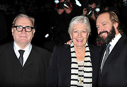 """© Licensed to London News Pictures. 16/10/2011.London,England. Brian Cox Ralph Fiennes and Vanessa Redgrave attend the  Premiere of """"Coriolanus"""" at the 55th British Film Festival in London  Photo credit : ALAN ROXBOROUGH/LNP"""