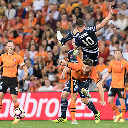BRISBANE, AUSTRALIA - OCTOBER 7: James Troisi of the Victory and Brandon Borrello of the Roar compete for the ball during the round 1 Hyundai A-League match between the Brisbane Roar and Melbourne Victory at Suncorp Stadium on October 7, 2016 in Brisbane, Australia. (Photo by Patrick Kearney/Brisbane Roar)