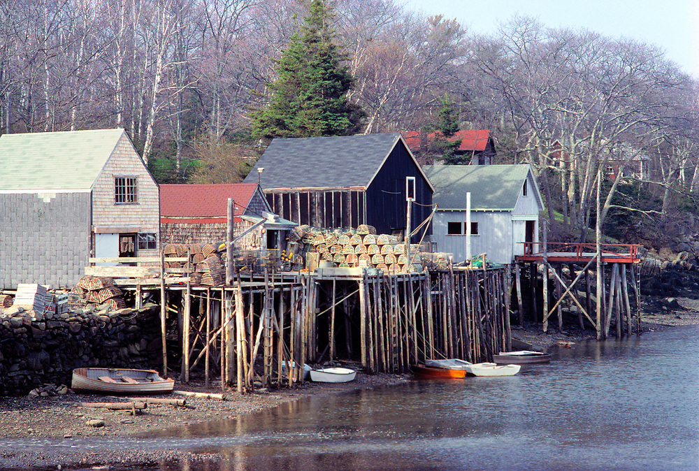 Lobster traps are stacked on the piers in a village near Acadia National Park in Maine.