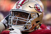 San Francisco 49ers offensive guard Laken Tomlinson (75) hangs out on the sideline during a NFL game against the New York Giants at Levi's Stadium in Santa Clara, Calif., on November 12, 2017. (Stan Olszewski/Special to S.F. Examiner)
