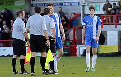 Peterborough United's Jack Baldwin speaks with match referee Lee Collins at full time - Photo mandatory by-line: Joe Dent/JMP - Tel: Mobile: 07966 386802 01/03/2014 - SPORT - FOOTBALL - Crawley - Broadfield Stadium - Crawley Town v Peterborough United - Sky Bet League One