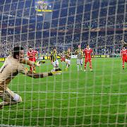 Fenerbahce's Cristian Olivera Baroni (R) during their UEFA Europa League Semi Final first match Fenerbahce between Benfica at Sukru Saracaoglu stadium in Istanbul Turkey on Thursday 25 April 2013. Photo by Aykut AKICI/TURKPIX