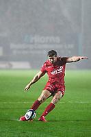 Rugby Union  - 2017 / 2018 European Champions Cup Pool 5. Llanelli Scarlets vs Bath<br /> <br /> Leigh Halfpenny of Llanelli Scarlets  kicks a conversion, in heavy rain  at Parc Y Scarlets.<br /> <br /> COLORSPORT/WINSTON BYNORTH