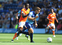 Blackpool's Joe Dodoo under pressure from Wycombe Wanderers' Adam El-Abd<br /> <br /> Photographer Kevin Barnes/CameraSport<br /> <br /> The EFL Sky Bet League One - Wycombe Wanderers v Blackpool - Saturday 4th August 2018 - Adams Park - Wycombe<br /> <br /> World Copyright © 2018 CameraSport. All rights reserved. 43 Linden Ave. Countesthorpe. Leicester. England. LE8 5PG - Tel: +44 (0) 116 277 4147 - admin@camerasport.com - www.camerasport.com