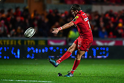 Scarlets' Dan Jones converts his sides sixth try<br /> <br /> Photographer Craig Thomas/Replay Images<br /> <br /> Guinness PRO14 Round 13 - Scarlets v Dragons - Friday 5th January 2018 - Parc Y Scarlets - Llanelli<br /> <br /> World Copyright © Replay Images . All rights reserved. info@replayimages.co.uk - http://replayimages.co.uk