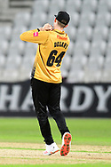 Gareth Delaney of Leicestershire takes a catch during the Vitality T20 Blast North Group match between Nottinghamshire County Cricket Club and Leicestershire County Cricket Club at Trent Bridge, Nottingham, United Kingdom on 4 September 2020.