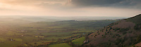 View over Welsh countryside from Mynydd Llangorse, Brecon Beacons national park, Wales