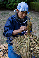 """During winter months, many trees in Japanese gardens sprout conical structures called Yukitsuri or """"snow suspenders"""".  The practice of Yukitsuri or Yuki-tsuri is to protect trees from snow damage in areas of Japan that get lots of snow.  The most common technique of preparing yuki-tsuri is by putting up bamboo poles near the trunk of the tree, then extending ropes from the top of the pole to be attached to the branches. The ropes prevent the branches from sagging  under the weight of the snow.  The construction of yuki-tsuri is usually done in December, and though it may look somewhat like a """"Christmas decoration"""" it has nothing to do with Christmas though the practice occurs in December.  Japanese komo-maki or komomaki is wrapping the trunk of a tree with a rice straw mat. This method is mistakenly regarded as protecting pine trees from the cold of winter, but is in fact protection from  insects that infect pine trees."""