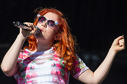 © Licensed to London News Pictures . 07/06/2014 . Heaton Park , Manchester , UK . KATY B performs on the main stage at the Parklife music festival in Heaton Park Manchester as the sun comes out . Photo credit : Joel Goodman/LNP