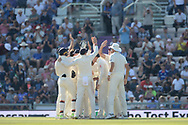 England celebrate the wicket of Rishabh Pant of India during the fourth day of the 4th SpecSavers International Test Match 2018 match between England and India at the Ageas Bowl, Southampton, United Kingdom on 2 September 2018.