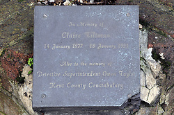 © Licensed to London News Pictures. 11/12/2014 <br />  A Plaque to Claire Tiltman near the alleyway on London Road,Greenhithe,Kent.<br /> Colin Ash-Smith has been found guilty of the murder of schoolgirl Claire Tiltman in Greenhithe more than two decades ago.<br /> The former milkman showed no emotion as the verdict was read out at Inner London Crown Court this afternoon.<br /> The  jury was sent out yesterday by Mr Justice Sweeney to begin deliberating whether Colin Ash-Smith, 46, was guilty of the brutal stabbing of the 16-year-old on January 18, 1993 in an alleyway off London Road,Greenhithe,Kent.<br /> <br /> (Byline:Grant Falvey/LNP)