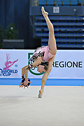 Halkina Katsiaryna during qualifying at ball in Pesaro World Cup 26 April 2013. Katsiaryna is a Belarusian rhythmic gymnastics athlete born February 25, 1997 in Minks, Belarus.