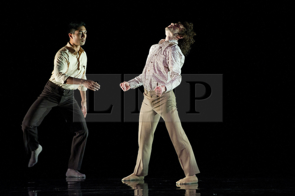 "© Copyright licensed to London News Pictures. 08/11/2010. L: Eryck Brahmania; R: Thomasin Gulgec. Rambert Dance Company presents ""Awakenings', based on the book by Oliver Sachs, at Sadler's Wells, London. Choreographed by Aletta Collins, and with a specially-commissioned score by American composer, Tobias Picker, this is a premiere for London. The company are: Angela Towler, Pieter Symonds, Gemma Nixon, Thomasin Gulgec, Jonathan Goddard, Robin Gladwin, Malgorzat Dzierzon, Eryck Brahmania. Commissioned by Daniel Katz Limited. Lighting design by Yaron Abulafia. Design by Miriam buether."