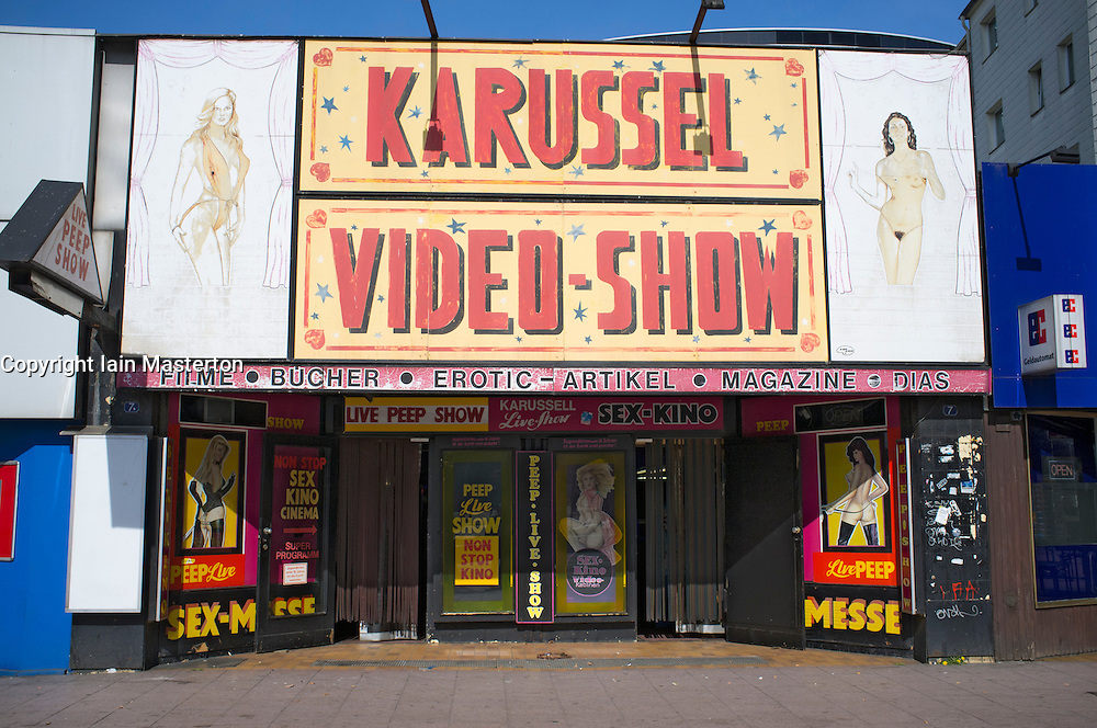Erotic cinema on Reeperbahn in red light district of Hamburg Germany