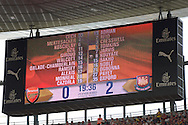 Scoreboard during the second half. Barclays Premier League, Arsenal v West Ham Utd at the Emirates Stadium in London on Sunday 9th August 2015.<br /> pic by John Patrick Fletcher, Andrew Orchard sports photography.