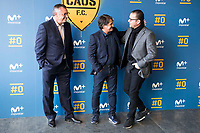 "Tv Hosts Michael Robinson, Raul Ruiz and Pedja Mijatovic during the presentation of the new tv program #0 of Movistar+ ""Caos FC"" at Ciudad del Futbol of Las Rozas in Madrid. November 21, Spain. 2016. (ALTERPHOTOS/BorjaB.Hojas)"