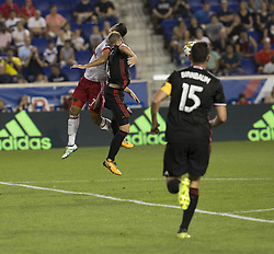 September 27, 2017 - Harrison, New Jersey, United States - Sean Davis (27) of Red Bulls & Russell Canouse 0f DC United fight for ball during regular MLS game at Red Bull Arena Game ended in draw 3 - 3  (Credit Image: © Lev Radin/Pacific Press via ZUMA Wire)