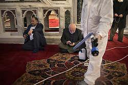 Employees of the Istanbul Metropolitan Municipality disinfects Fatih Mosque to prevent the spread of the novel coronavirus COVID-19 in Istanbul, Turkey, 14 March 2020. Turkish Health Minister Fahrettin Koca was announced the 6th coronavirus COVID-19 case in Turkey. Photo by Saner Sen/NARphotos/ABACAPRESS.COM