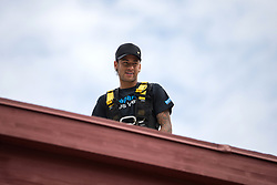 Handout photo. PSG 's new star Neymar Jr became Handicap International's first-ever ambassador at a ceremony at the United Nations in Geneva, Switzerland on August 15, 2017. He poses on the top of the giant Broken Chair monument, which sits in the main square outside the UN's European headquarters. Photo by Pierre Albouy/Handicap International/ABACAPRESS.COM