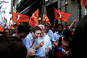 Passos Coelho, the leader of the Social Democratic Party (center-right wings), run for the parliamentary election. In the picture a moment during his campaign in Braga.
