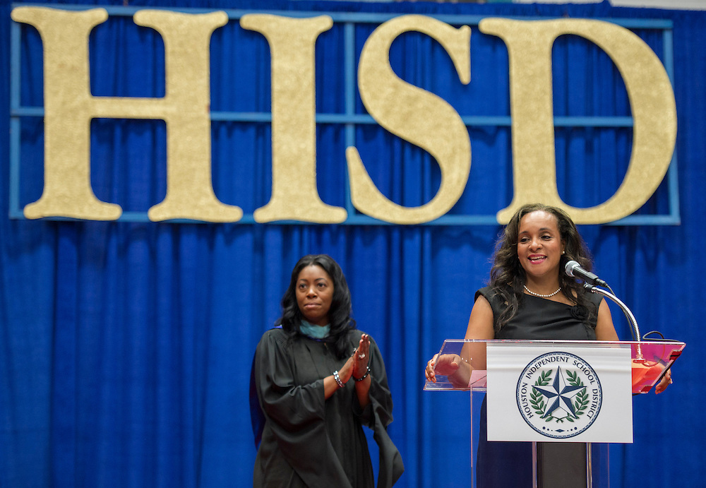Houston ISD Board Trustee Rhonda Skillern-Jones speaks during the Booker T Washington High School commencement at Delmar Fieldhouse, June 8, 2013.