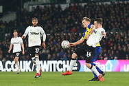 Derby County forward Jack Marriott (14)  and Southampton defender Jack Stephens (5) during the The FA Cup 3rd round match between Derby County and Southampton at the Pride Park, Derby, England on 5 January 2019.