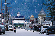 Downtown Skagway with Cruise ship. Alaska.