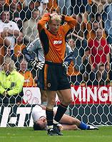 Photograph: Scott Heavey.<br />Wolverhampton Wanderers v Chelsea. FA Barclaycard Premiership match from Molineux. 20/09/2003.<br />Steffan Iversen cant believe the scoreline.