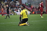 Ryan Blake (Chesham) wonders why he hasn't been awarded a free kick for the challenge during the The FA Cup match between Bradford City and Chesham FC at the Coral Windows Stadium, Bradford, England on 6 December 2015. Photo by Mark P Doherty.