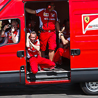 Ferrari support personnel at the Goodwood FOS on 28 June 2015