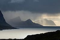 Autumn storms pass over mountains, Vestvågøy, Lofoten Islands, Norway