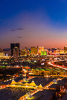 The Strip (Las Vegas Boulevard) and Interstate 15 (on right ), Las Vegas, Nevada USA.