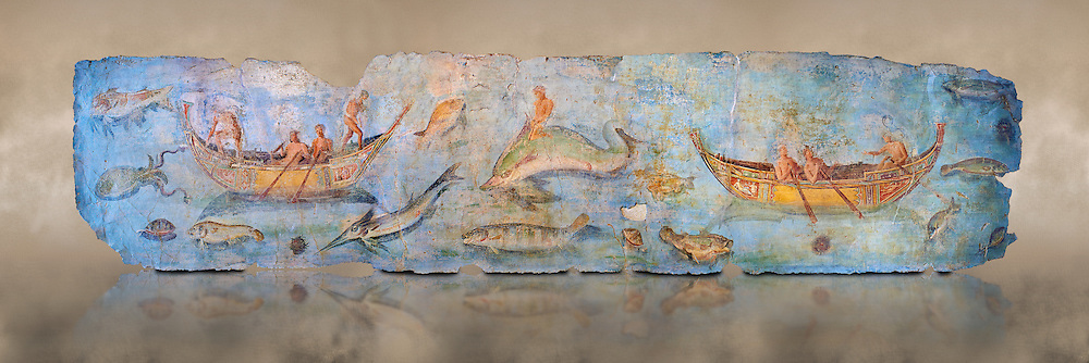 Roman Fresco with boats and marine life from the second quarter of the first century AD. (mosaico fauna marina da porto fluviale di san paolo), museo nazionale romano ( National Roman Museum), Rome, Italy. inv. 121462 .  <br /> The frescoes depict boats decorated as boats which went along the Tiber on festival days; their shape appears to be the caudicariae boats, used to transport merchandise. In the fresco fragment exhibited here (Ambiente E) the boat on the left depicts probably the group of 'side Serapide and Demetra on the stern, whereas the one on the right presents a crowned character on the bow and, on the stern, a feminine figure fluctuating in the air. Between the two boats, a young boy (a cupid or Palaimon-Portunus) rides a dolphin. All around are depicted several fish incredibly casting their shadows on the sea. The ichthyic fauna, lifeless as in still life decoration, is detailed as in a scientific catalogue. For the most part the represented species live next to the coast or were bred by the Romans in the piscinae salsac or in ponds. It is possible to recognize the rock mullet (mullus sunnuletus) and the mud one (mullus barbatu4 the scorpion fish (scorpoena) the dentex (dentex dentex), the aguglia (belone agus) the dolphin (delphinus delphis) and the golden mullet (lire curate). .<br /> <br /> If you prefer to buy from our ALAMY PHOTO LIBRARY  Collection visit : https://www.alamy.com/portfolio/paul-williams-funkystock/national-roman-museum-rome-fresco.html<br /> <br /> Visit our ROMAN ART & HISTORIC SITES PHOTO COLLECTIONS for more photos to download or buy as wall art prints https://funkystock.photoshelter.com/gallery-collection/The-Romans-Art-Artefacts-Antiquities-Historic-Sites-Pictures-Images/C0000r2uLJJo9_s0