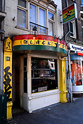 Amsterdam - Netherlands. Coffeeshop on the Prinsengracht In the Netherlands, where the sale of cannabis is decriminalized, many cannabis shops call themselves coffeeshops.