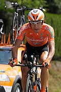 France, Talloire, 23 July 2009: Igor Anton Hernandez (Spa) Euskaltel - Euskadi on the Côte de Bluffy during Stage 18 - a 40.5 km Annecy to Annecy individual time trial. Photo by Peter Horrell / http://peterhorrell.com .