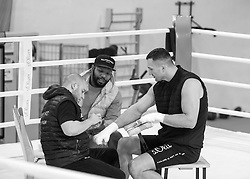 10.11.2015, Stanglwirt, Going, AUT, Wladimir Klitschko, Training, Kampfvorbereitung gegen Tyson Fury (GBR), im Bild v.l. Physiotherapeut Aldo Vetere, Trainer Johnathon Banks, Wladimir Klitschko // Physiotherapeut Aldo Vetere ( L ) Coach Johnathon Banks ( C ) Wladimir Klitschko ( R ) during a training session in front of his Fight against Tyson Fury (GBR) at the Stanglwirt in Going, Austria on 2015/11/10. EXPA Pictures © 2015, PhotoCredit: EXPA/ Johann Groder