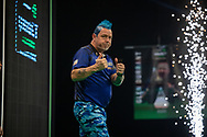 Peter Wright (Scotland) celebrates his win during the Betway Premier League Darts Night Eight at Marshall Arena, Milton Keynes, United Kingdom on 21 April 2021