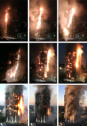 Composite photograph showing how fire swept through Grenfell Tower in west London, in which at least 17 people have died. The timings are top from left: 0130, 0210, 0234; middle from left: 0308, 0323, 0344; bottom from left: 0420, 0443, 0516.
