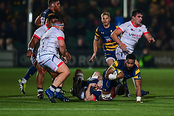 Andrew Durutalo of Worcester Warriors is tackled by Matt Postlethwaite of Sale Sharks - Mandatory by-line: Craig Thomas/JMP - 03/11/2017 - RUGBY - Sixways Stadium - Worcester, England - Worcester Warriors v Sale Sharks - Anglo Welsh Cup